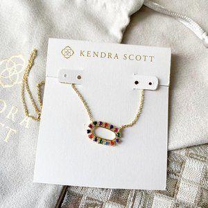 Kendra Scott Elisa Frame Necklace Gold Multi CZ